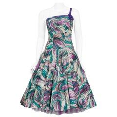 Vintage 1950's Perullo Abstract Atomic Purple Blue Cotton One-Shoulder Dress