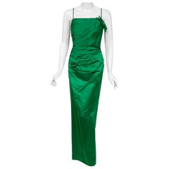 Vintage 1950's Philip Hulitar Emerald Green Satin Ruched Hourglass Dress Gown