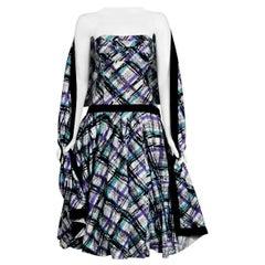 Vintage 1950's Plaid Print Cotton Strapless Shelf-Bust Bustle Dress and Shawl