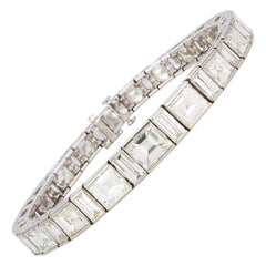 Vintage 1950s Platinum and Diamond Graduated Line Bracelet 35.00 Carat