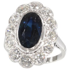 Vintage 1950s Platinum Diamond and Sapphire Engagement Ring, Lady Di Style