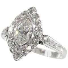 Vintage 1950s Platinum Engagement Ring with 0.85 Carat Diamonds