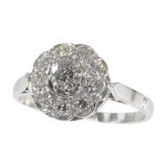 Vintage 1950s Platinum Engagement Ring with Brilliant Cut Diamonds
