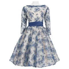 Vintage 1950's Rappi Couture Blue & White Chantilly-Lace Illusion Dress