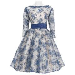 Vintage 1950's Rappi Couture Blue & White Chantilly-Lace Illusion Dress