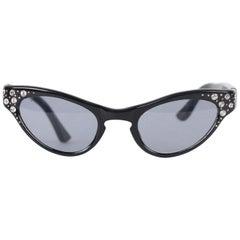 Vintage 1950s Rare Cat-Eye Sunglasses 44-22 Crystals Frame France