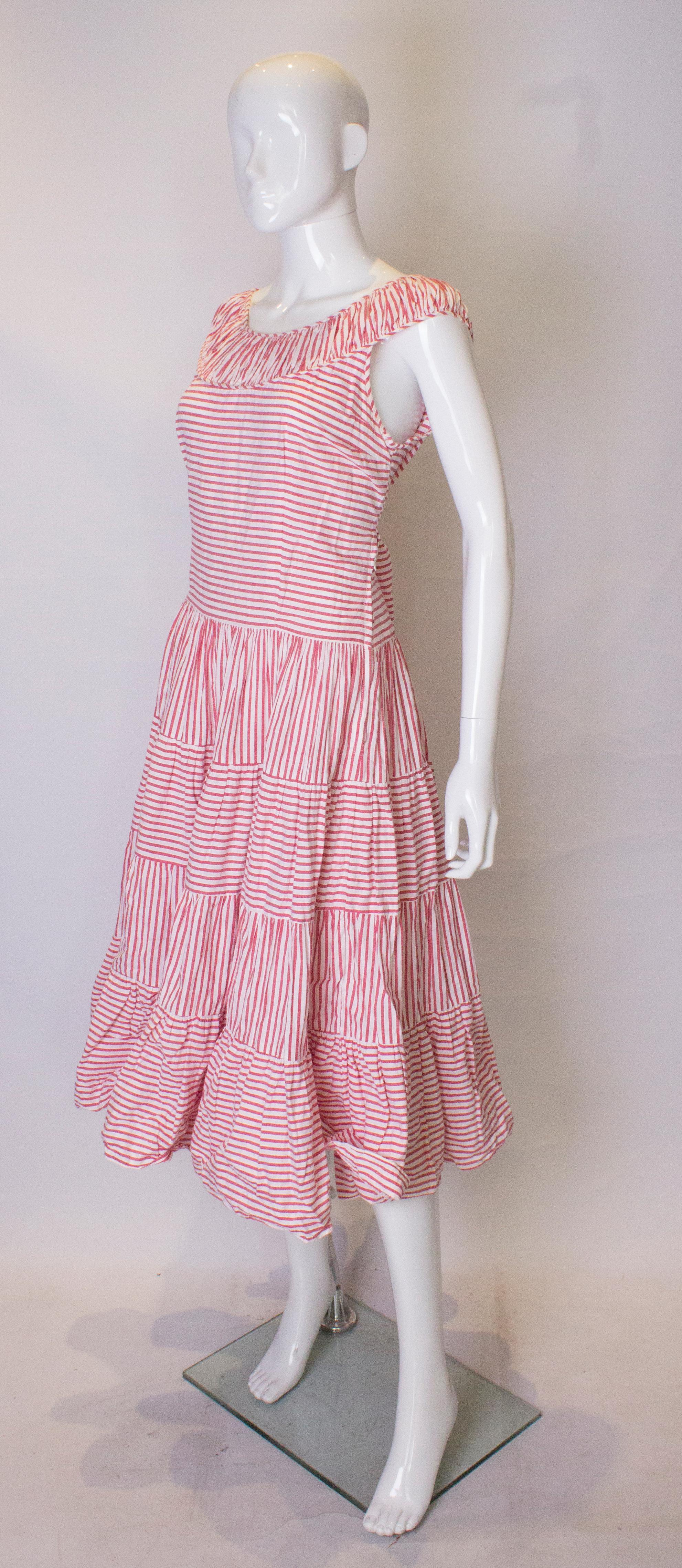 4567e2f94 Vintage 1950s Red and White Cotton Summer Dress For Sale at 1stdibs