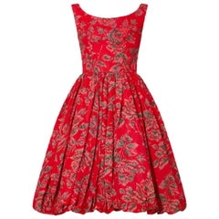 Vintage 1950s Red Floral Rose Print Sleeveless Tulip Dress