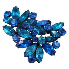 Vintage 1950's Regency Deep Blue Crystal Brooch