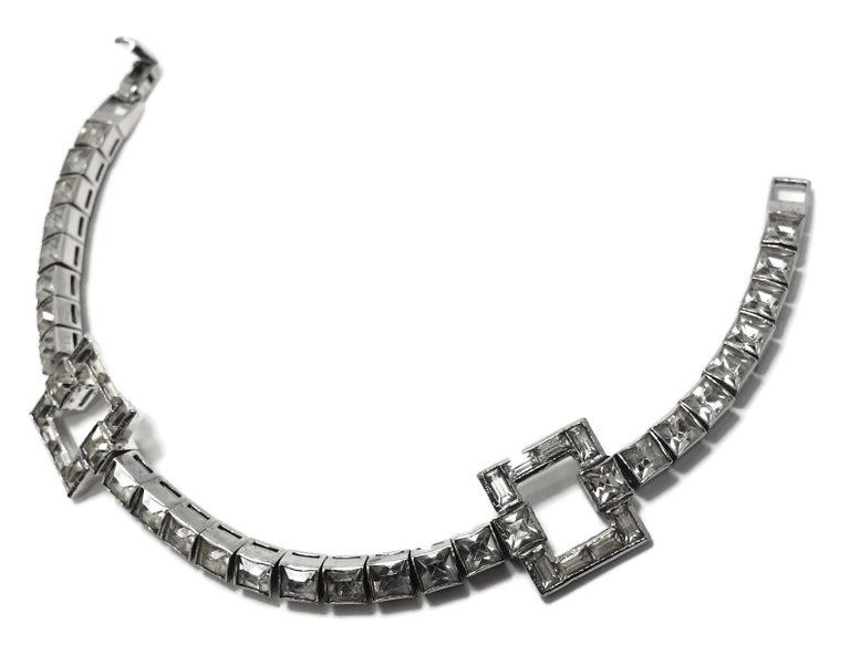 Vintage 1950s Retro Style Crystal Bracelet In Good Condition For Sale In New York, NY