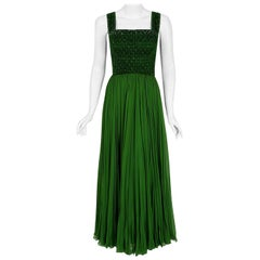 Vintage 1950's Rosali Macrini Emerald Green Beaded Rhinestone Silk Chiffon Gown