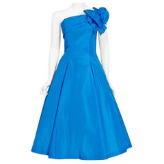 Vintage 1950's Royal Blue Taffeta One-Shoulder Asymmetric Bow Circle Skirt Dress