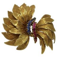 Vintage 1950s Rubies Sapphires 18 Karat Yellow Gold Bow Brooch