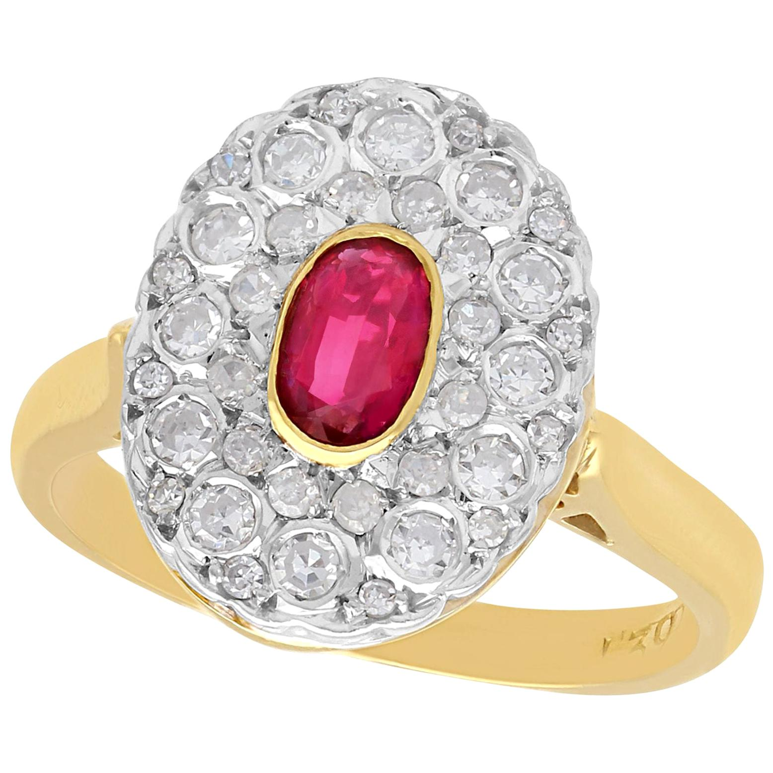 Vintage 1950s Ruby and Diamond Yellow Gold Cluster Ring