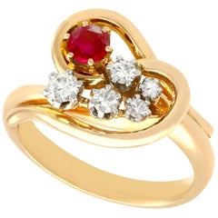 Vintage 1950s Ruby Diamond Yellow Gold Cocktail Ring