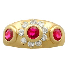 Vintage French 1950s Ruby and Diamond Yellow Gold Cocktail Ring