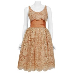 Vintage 1950's Rudolf Couture Metallic Peach Lace and Satin Scalloped Dress
