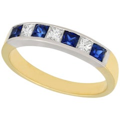 Vintage 1950s Sapphire and Diamond Gold Cocktail Ring