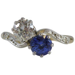 Vintage 1950s Sapphire and Diamond Toi et Moi Two-Stone Twist Engagement Ring