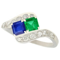 Vintage 1950s Sapphire and Emerald Diamond and Platinum Twist Ring