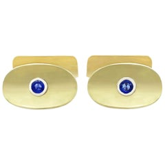 Vintage 1950s Sapphire and Yellow Gold Cufflinks