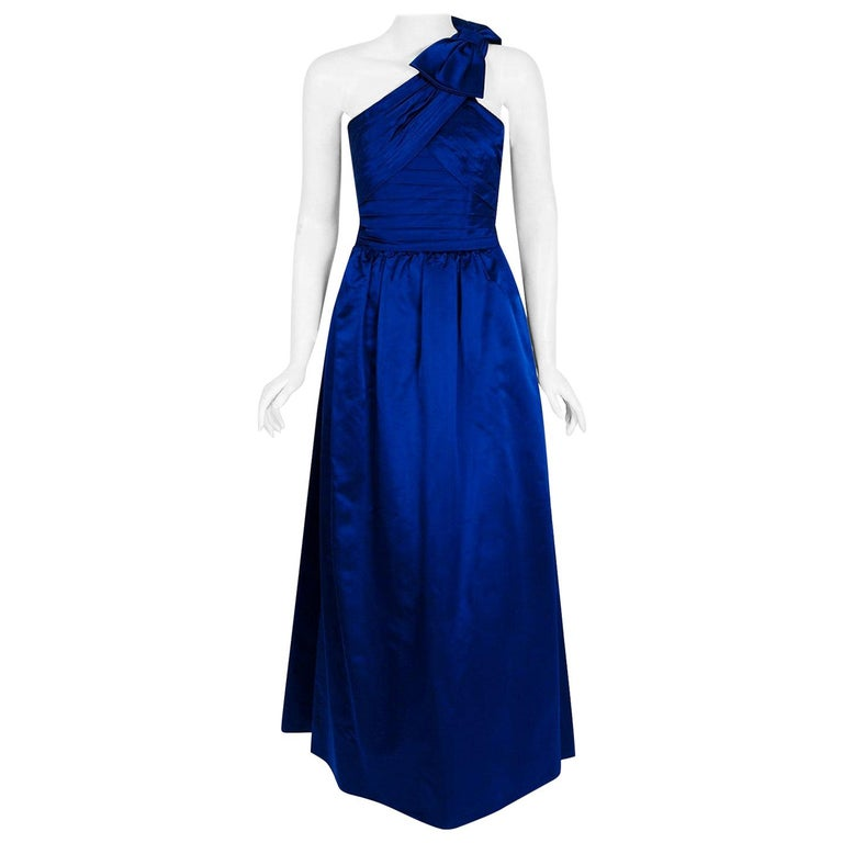 Vintage 1950's Sapphire Blue Satin Asymmetric Pleated One-Shoulder Evening Gown For Sale