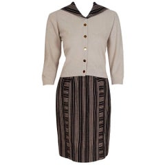 Vintage 1950's Schiaparelli Beige Cashmere and Striped Wool Sweater Skirt Set