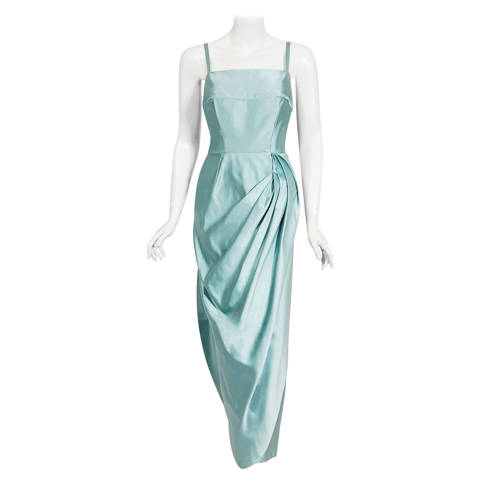 Vintage 1950's Sophie Gimbel Ice-Blue Silk Satin Draped Fitted Hourglass Gown