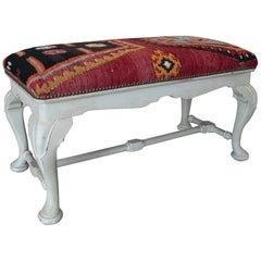 Vintage 1950s Spanish Tapestry-Woven Kilim Upholstered Two-Seat Bench