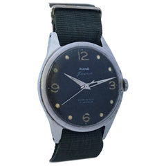 Vintage 1950s Stainless Steel Black Dial Mechanical Military Watch