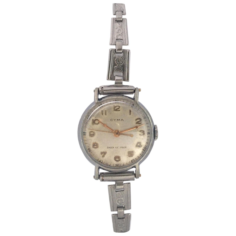 Vintage 1950s Stainless Steel CYMA Ladies Mechanical Watch