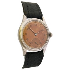 Vintage 1950s Stainless Steel Swiss Mechanical Military Watch