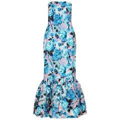 Vintage 1950s Strapless Blue Floral Pattern Evening Dress With Fishtail Hem