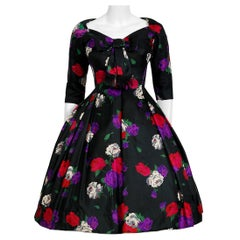 Vintage 1950's Suzy Perette Rose-Garden Floral Print Silk Bow Plunge Full Dress