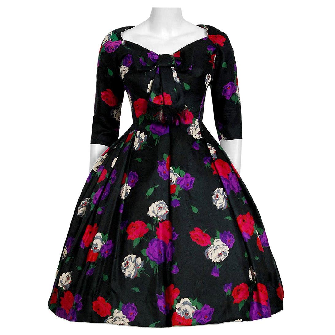 Vintage 1950's Suzy Perette Rose-Garden Floral Print Silk Bow Plunge Full Dress