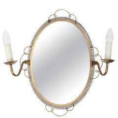 Vintage 1950s Swedish Brass Mirror with Sconces