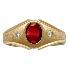 Vintage 1950s Synthetic Ruby and Diamond Yellow Gold Ring