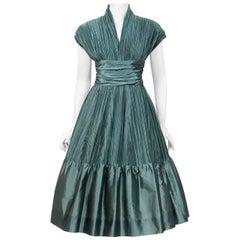 Vintage 1950's Teal Blue Heavily Pleated Silk Cummerbund Full-Skirt Custom Dress