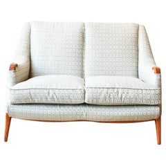 Vintage 1950s Two Seater Sofa Upholstered in Silk