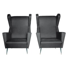 Vintage 1950s Upholstered Gio Ponti Italian Wing Chairs, Pair