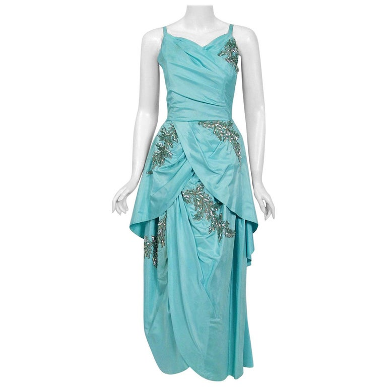 Vintage 1950's Emma Domb Aqua Blue Sequin-Leaves Applique Taffeta Tiered Gown For Sale