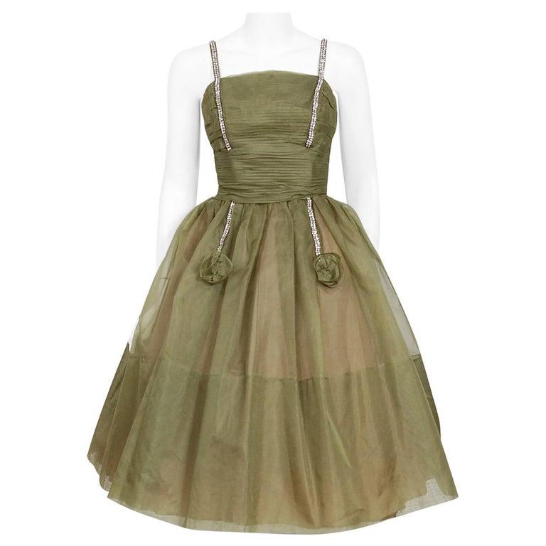 Vintage 1950's Vintage Olive Green Pleated Organza Rhinestone Full-Skirt Dress  For Sale