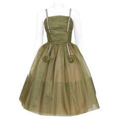 Vintage 1950's Vintage Olive Green Pleated Organza Rhinestone Full-Skirt Dress