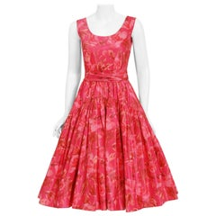 Vintage 1950's Watercolor Pink Floral Silk-Taffeta Pleated Full Skirt Dress