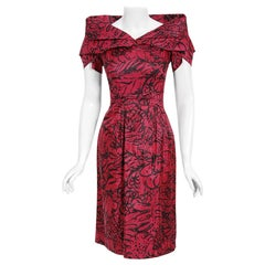 Vintage 1950's Worth Couture Magenta Pink Floral Print Silk Shawl-Collar Dress