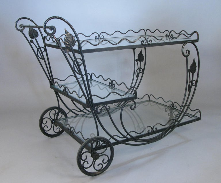American Vintage 1950s Wrought Iron Scroll Bar Cart For Sale