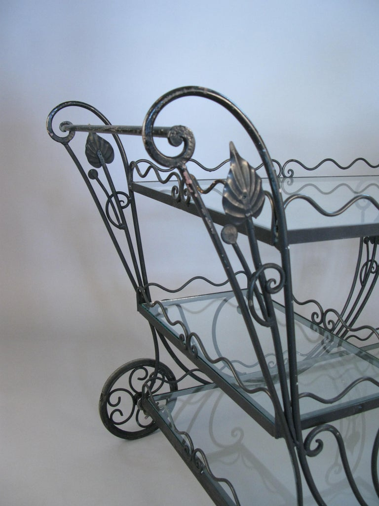 Vintage 1950s Wrought Iron Scroll Bar Cart In Good Condition For Sale In Hudson, NY