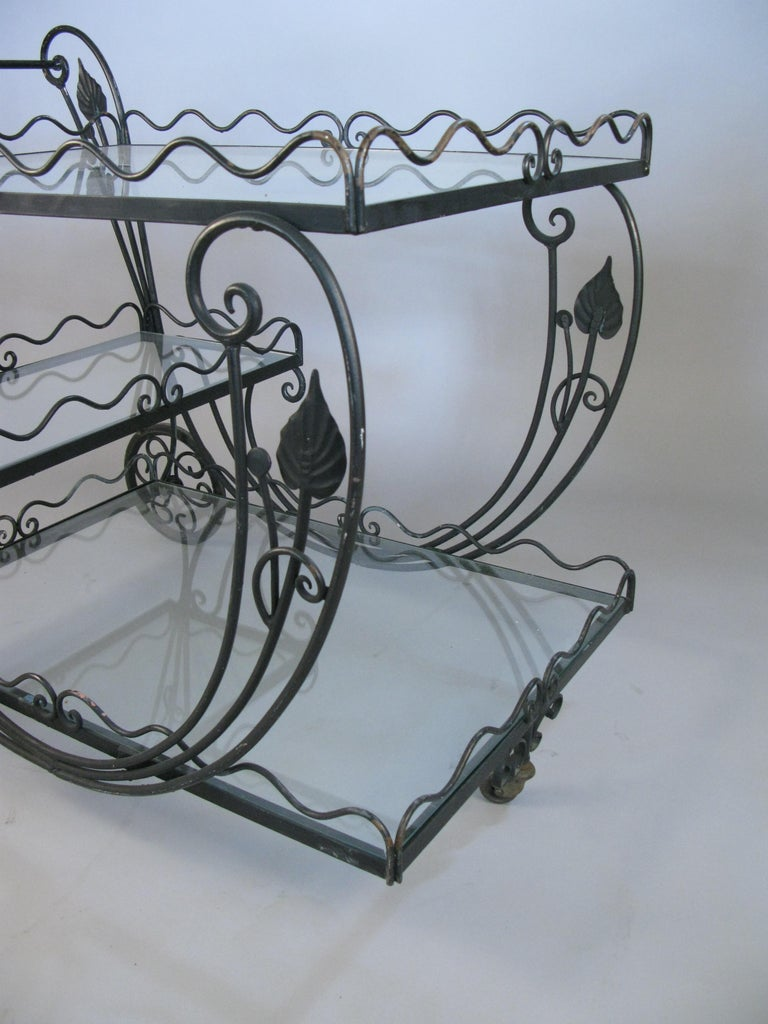 Mid-20th Century Vintage 1950s Wrought Iron Scroll Bar Cart For Sale