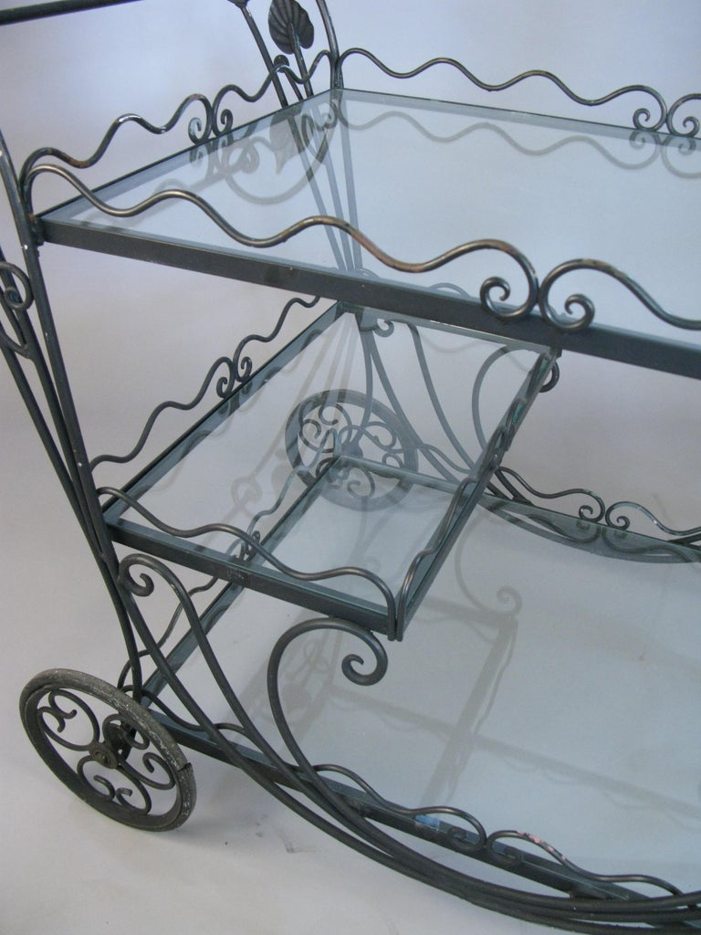 Vintage 1950s Wrought Iron Scroll Bar Cart For Sale 1