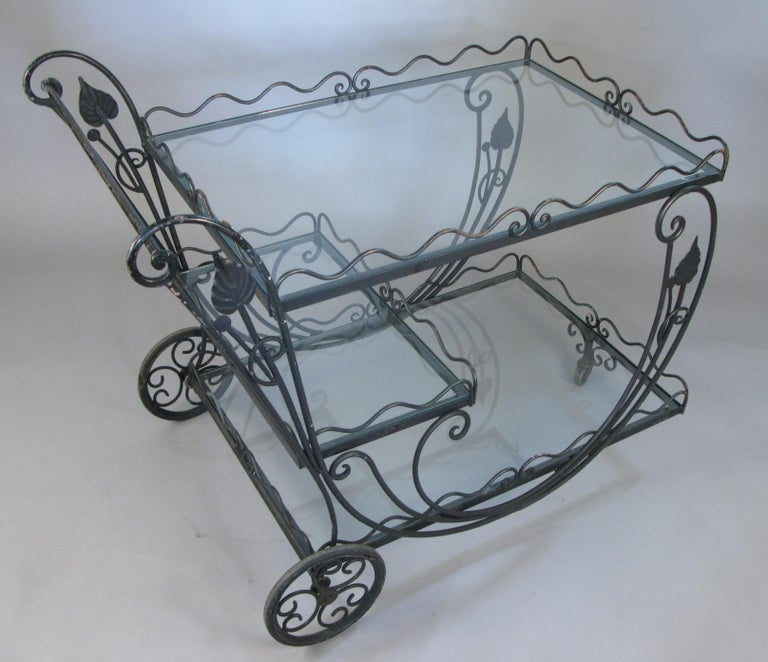 Vintage 1950s Wrought Iron Scroll Bar Cart For Sale 2